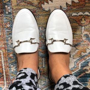 Breckelle's White Loafer Slides
